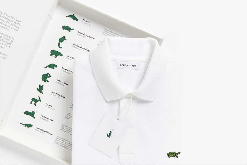 Camisetas da campanha Save Our Species, da Lacoste